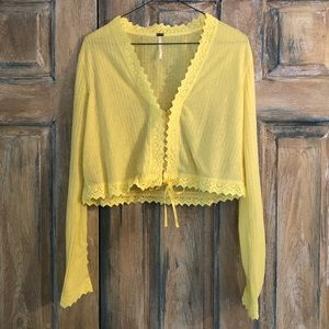 Free People Yellow LS Crop Top